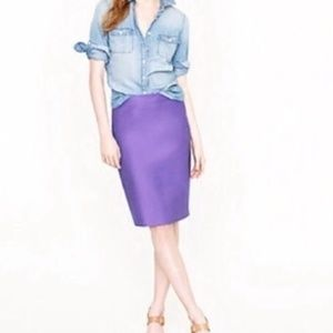J.CREW Solid Purple No. 2 Pencil Skirt